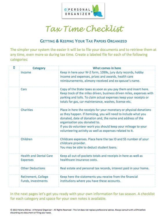 tax documents checklist | papers organizing | home organizer
