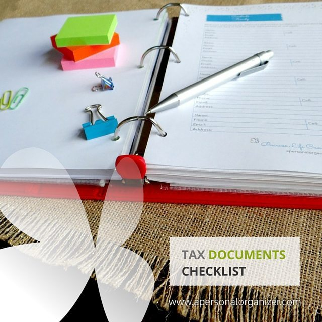 Tax documents checklist printable