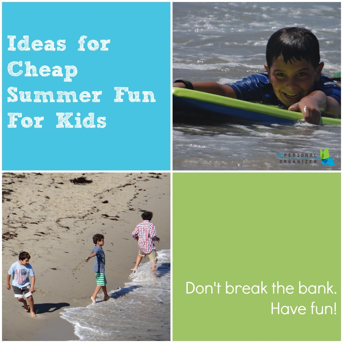 Free organizing printable for inexpensive summer fun for kids.