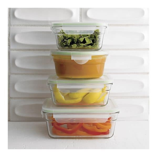 It's so much easier to organize the fridge with the correct organizing tools. Use leak-proof containers like this one from Crate & Barrel to simplify your life.