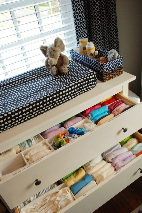 Organizing the nursery to bring baby home.