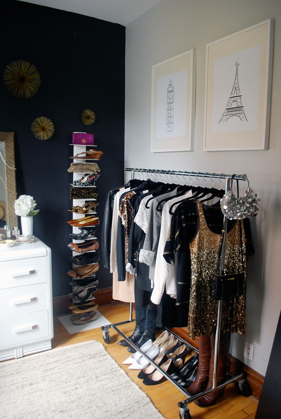Closet organizing ideas the no closet solution No closet hanging solutions