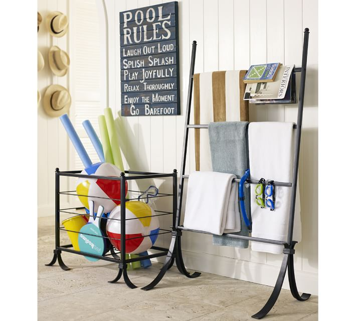 {This Pottery Barn bin is perfect to dry off your pool and beach gear}