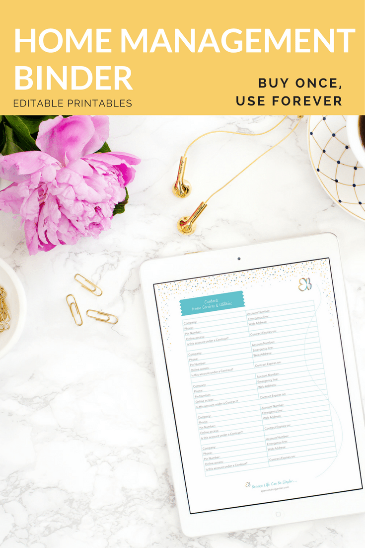 The Home Management Binder & Family Planner. Buy once, use it forever.  Fully editable PDF files you can use on your computer or print and build a 3-ring binder.