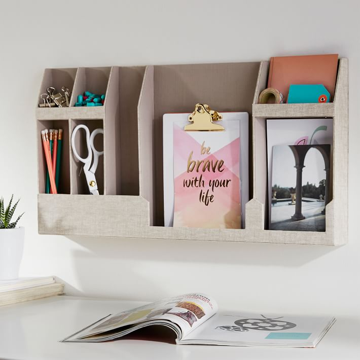 Shelves are a small room best friend. PB Teen no-nail organizer.