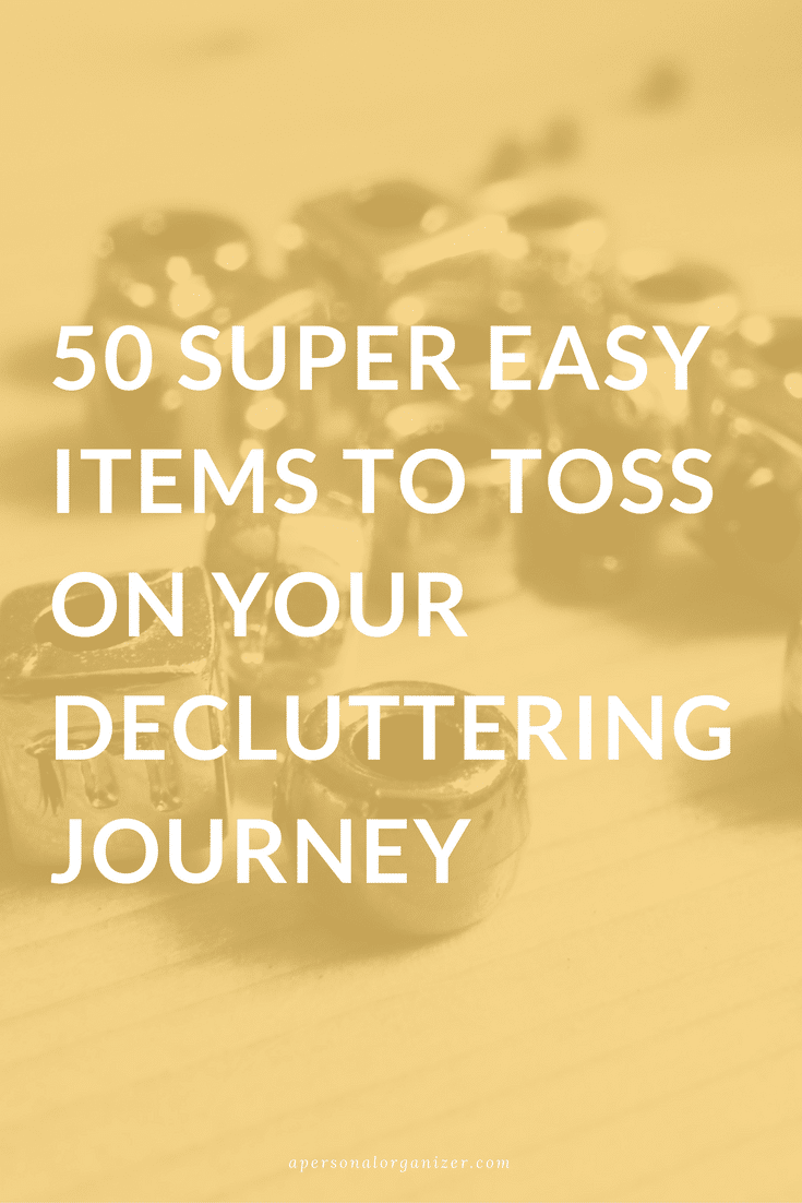 Deciding what to get rid of is one of the toughest parts of decluttering. It's natural to develop a certain attachment to your possessions, and it can seem wasteful to give away something you've hardly used. Believe it or not, there are some things that really aren't that difficult to part with. Start with this list of 50 easy items to toss on your decluttering journey, and you'll soon be paring down like a pro.