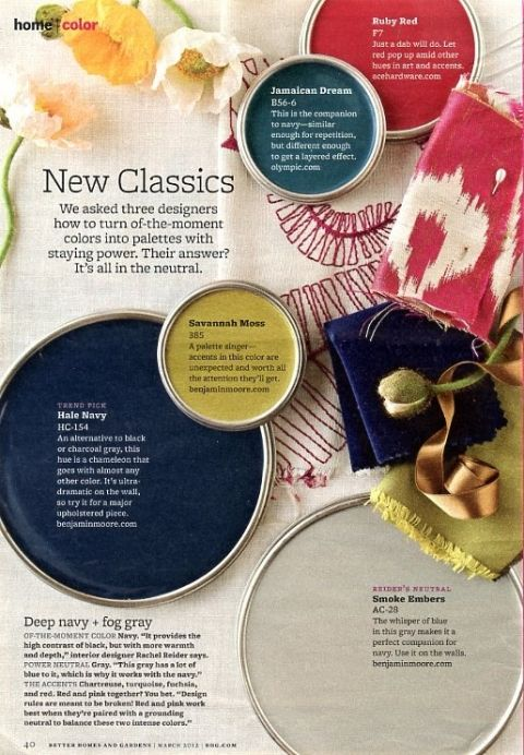BHG magazine color palette with navy blue, green and reds.