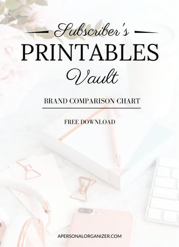 Brand Comparison Chart - A Personal Organizer