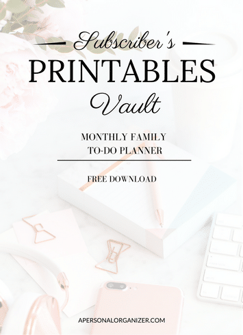 Monthly family to do planner - A Personal Organizer