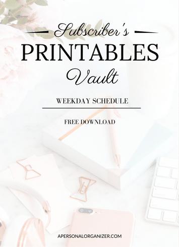 Weekday Schedule - A Personal Organizer