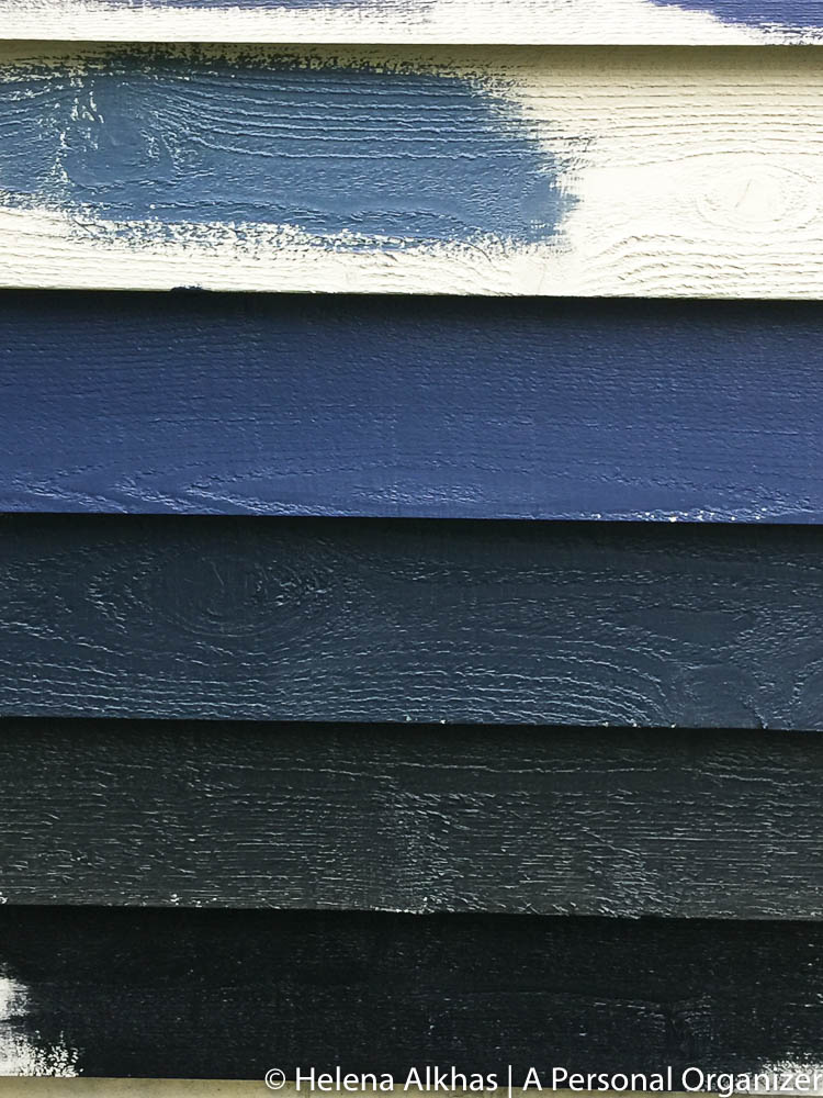 siding of house painted with Hale Navy, slate and grays