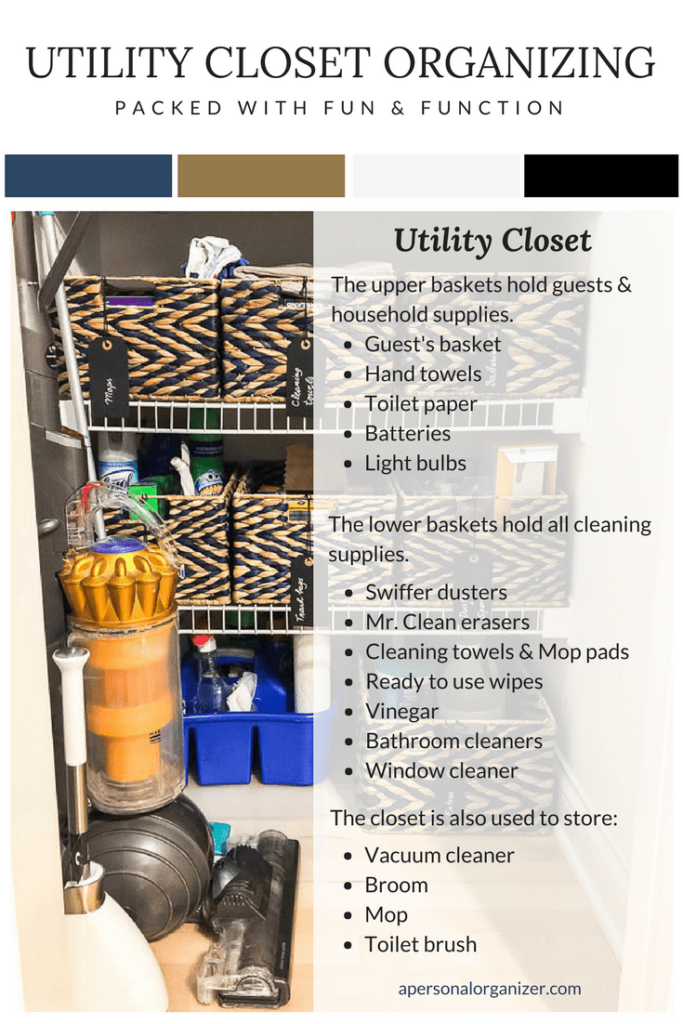 Image of utility closet with blue and beige baskets from the Container Store.