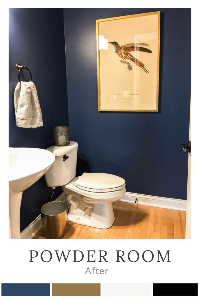 Small bathroom with Indigo Batik / navy blue walls and rubbed oil bronze fixtures