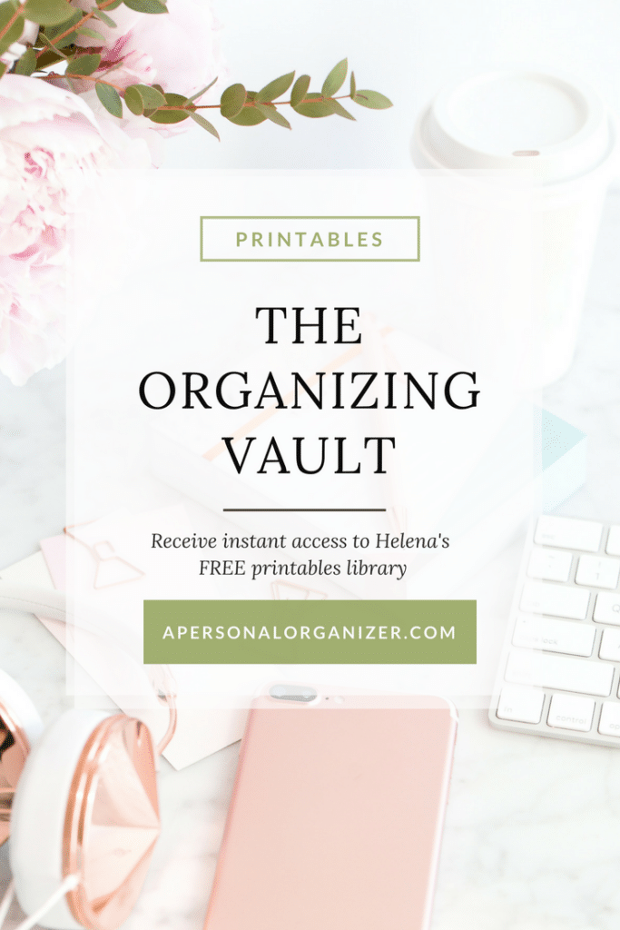 Blog graphic for The Organizing Vault Printables