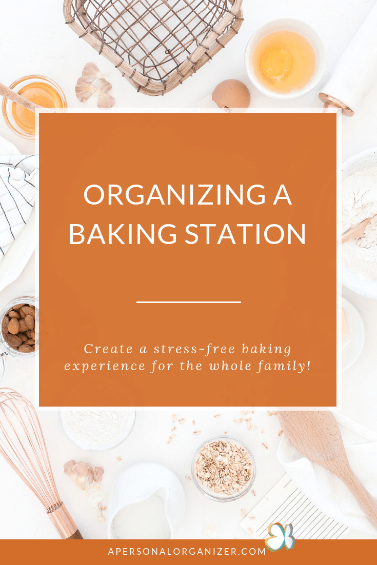 How to create and organize a baking station in your kitchen and be inspired to bake no matter the season! #baking #organizing #kitchen