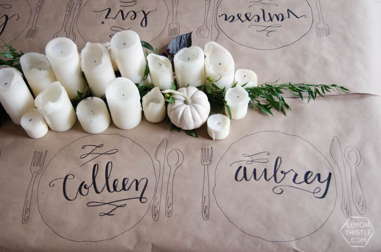 Kraft Paper tablecloth decorated with guest's names