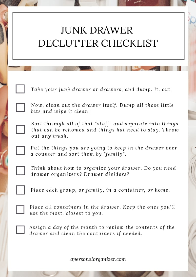 junk drawer organizing checklist