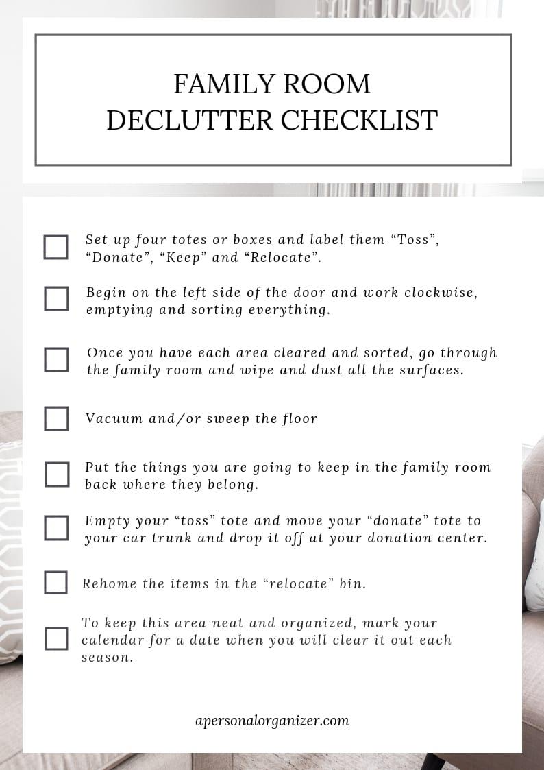 family room organizing checklist