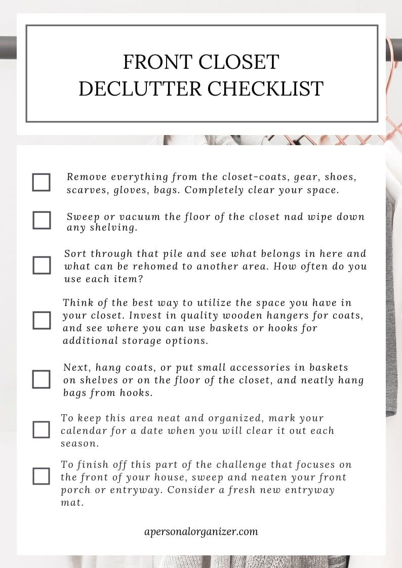 decluttering and organizing checklist front closet