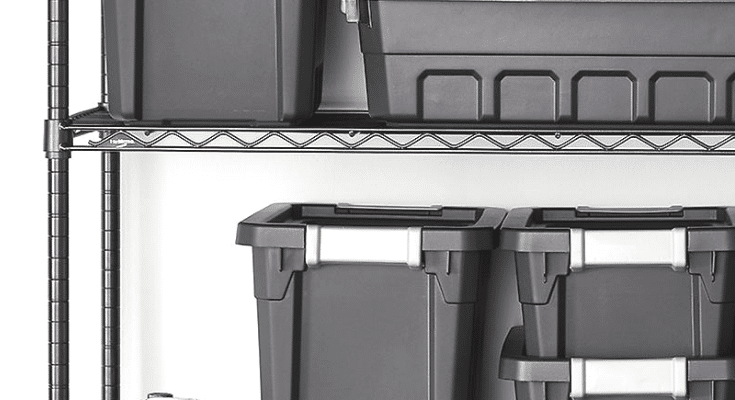 Black stacking bins for long term storage on black shelving - A Personal Organizer