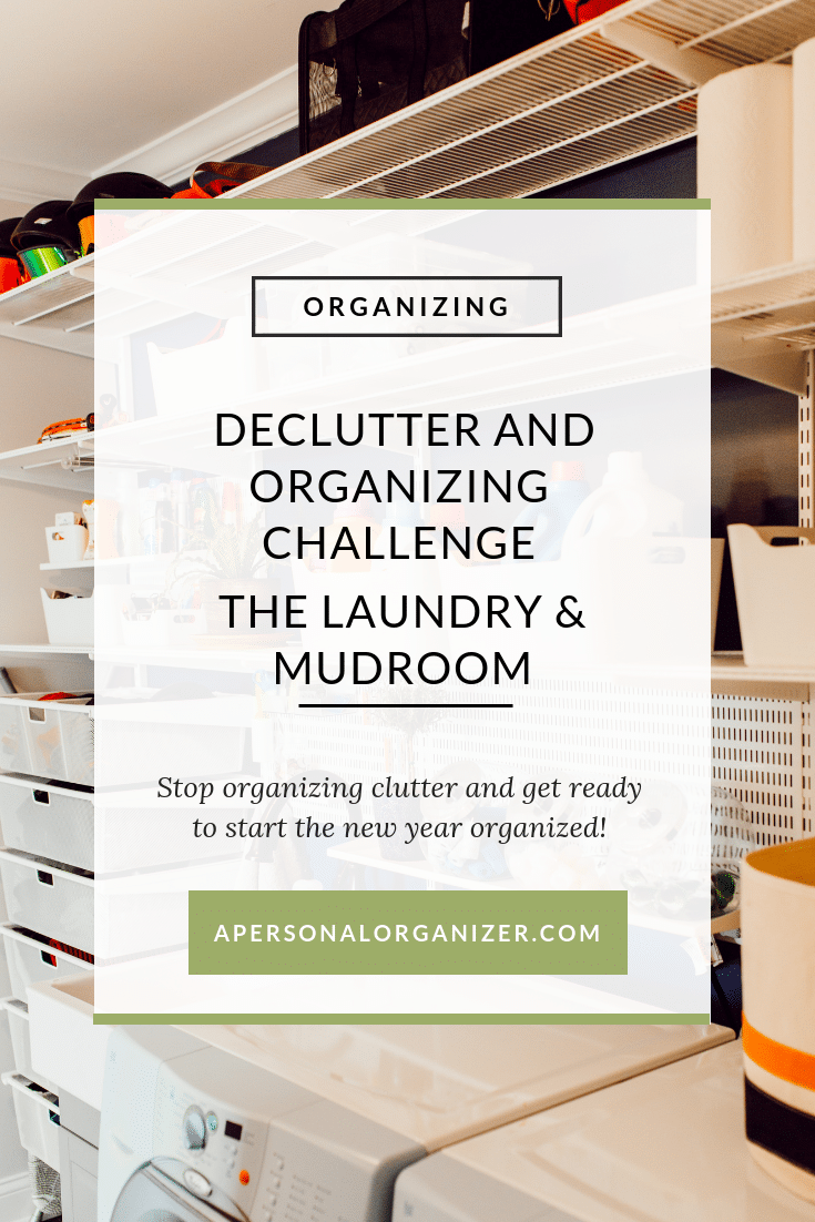Are you ready to stop the cycle of organizing and re-organizing over and over again? Join the decluttering and organizing challenge to organize your home room by room. #organizing #challenge #mudroom #laundry