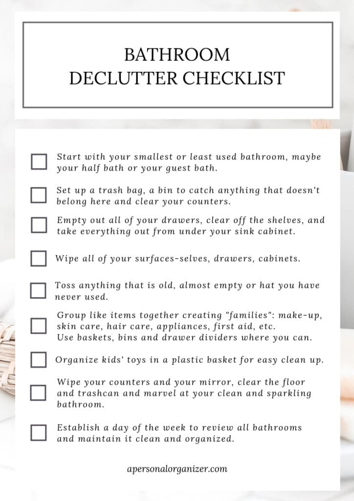 Bathroom Organizing Checklist - A Personal Organizer