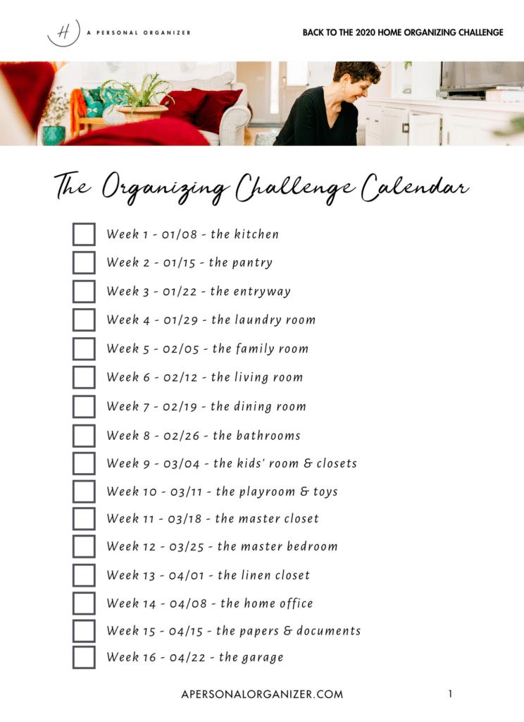 2020 Organizing Challenge Calendar