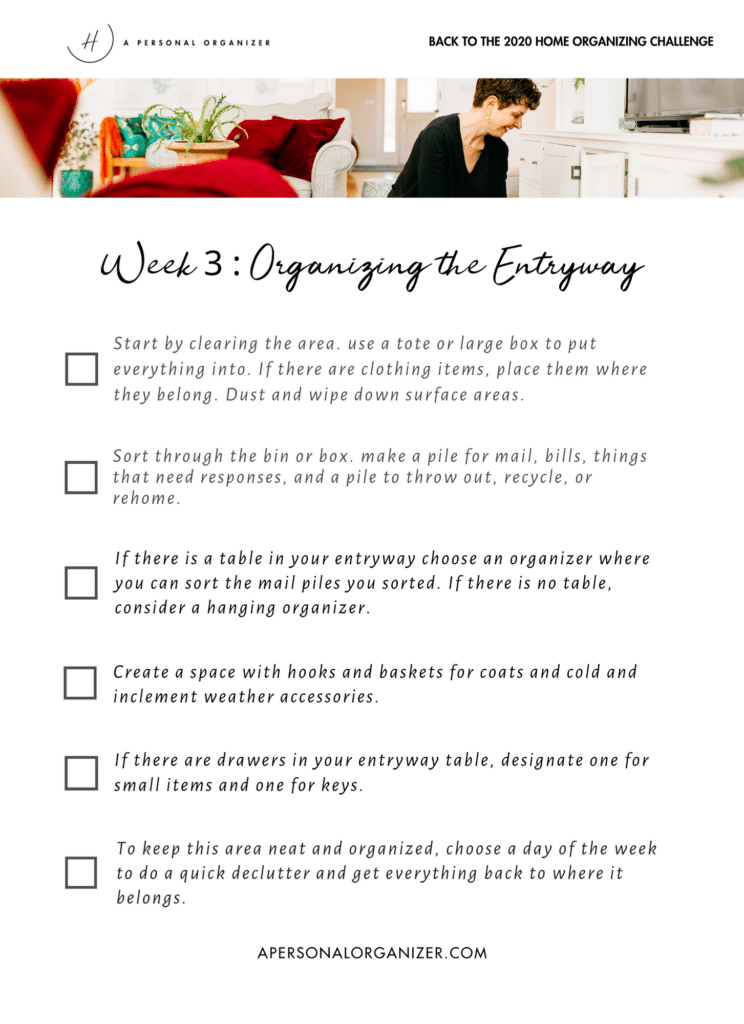 organizing the entryway checklist