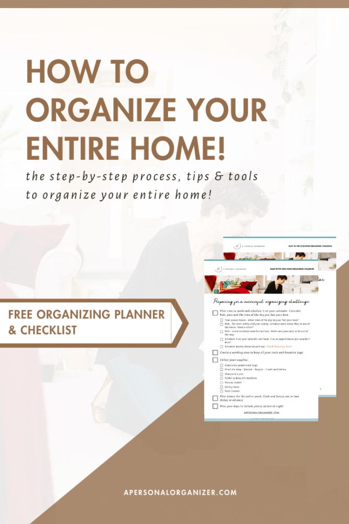 Home Organizing Challenge Checklists & Planner