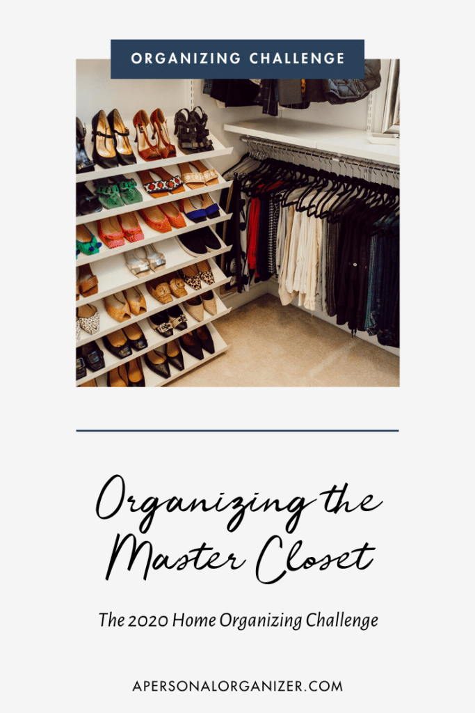 Organized master closet with the Elfa system by The Container Store