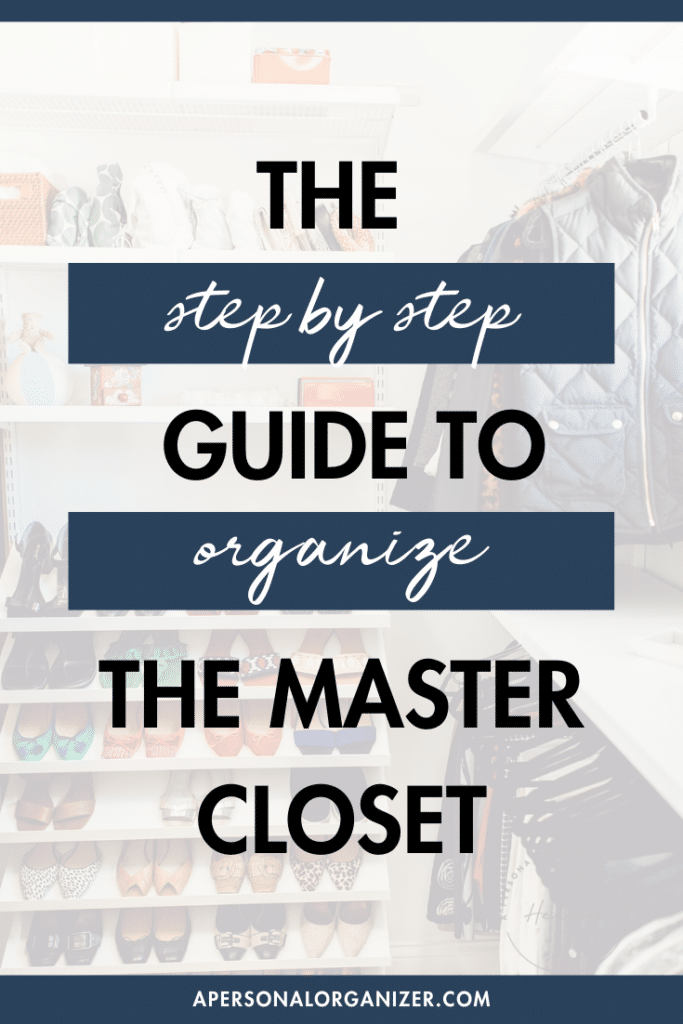 organized master closet with the Elfa closet system by the Container Store